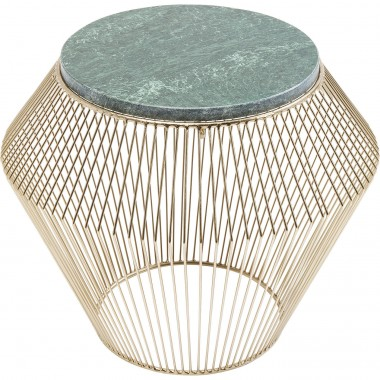 Side Table Beam Green Marble Brass Ø40cm Kare Design