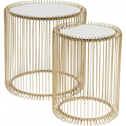 Side Table Wire Brass (2/Set) Ø44cm Kare Design