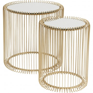 Side Table Wire Brass (2/Set) Ø44cm Kare Design