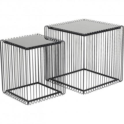 Tables d'appoint carrées Wire noires set de 2 Kare Design