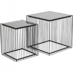 Tables d'appoint carrées Wire noires set de 2 Kare Design