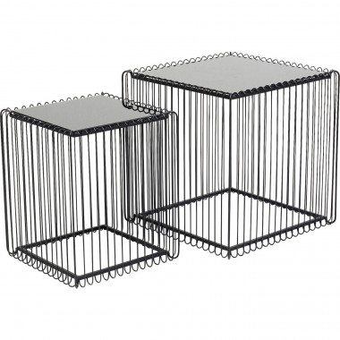 Side Table Wire Square Black (2/Set) 45x45cm Kare Design