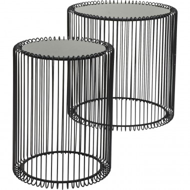 Side Table Wire Black (2/Set) Ø44cm Kare Design