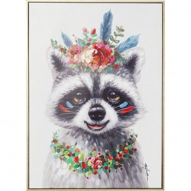 Picture Touched Flowers Raccoon 72x52cm Kare Design