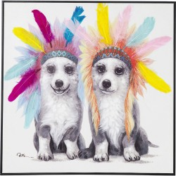Picture Touched Chief Dogs 70x70cm Kare Design