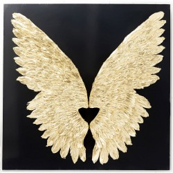 Wall Decoration Wings Gold Black 120x120cm Kare Design