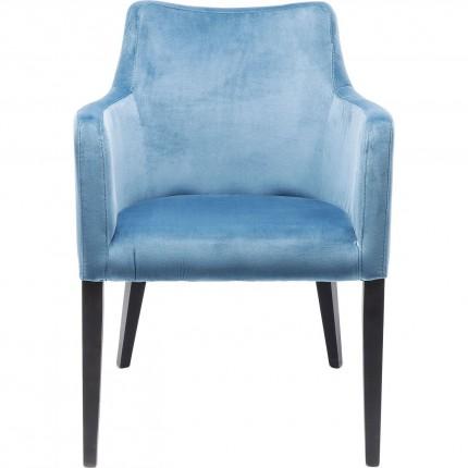 Stoel met armleuningen Black Mode blauw fluweel Kare Design