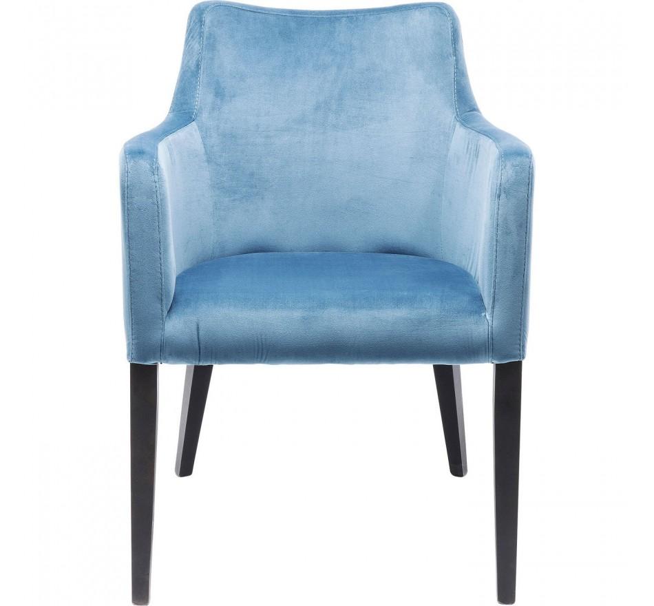 Chair with Armrest Black Mode Velvet Bluegreen Kare Design