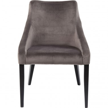 Chair Black Mode Velvet Grey Kare Design