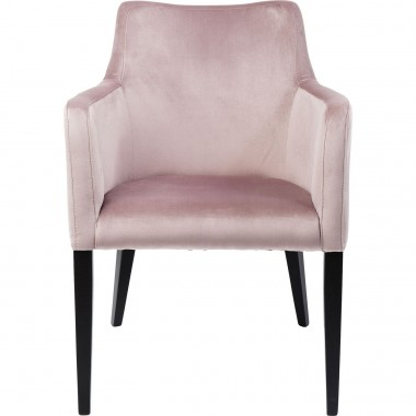 Chair with Armrest Black Mode Velvet Mauve Kare Design