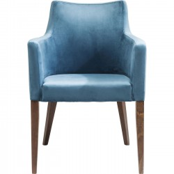 Chair with Armrest Mode Velvet Bluegreen Kare Design