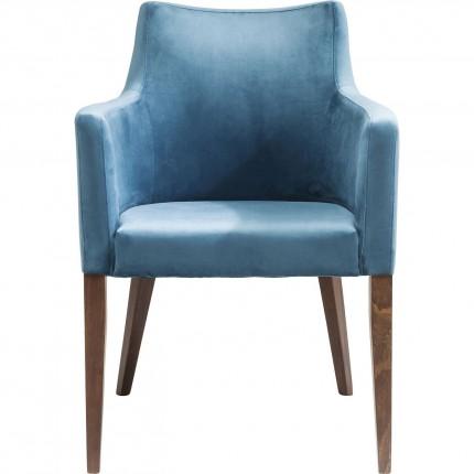 Stoel met armleuningen Mode blauw fluweel Kare Design