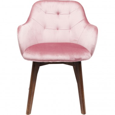 Chair with Armrest Lady Velvet Mauve Kare Design
