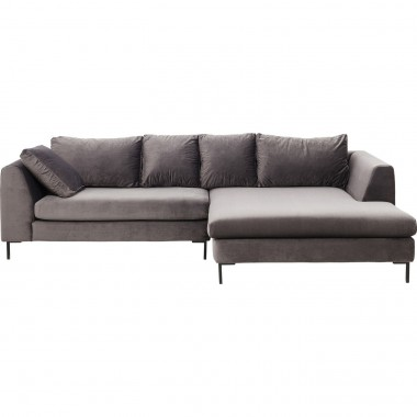Corner Sofa Black Gianna Velvet Grey Right Kare Design