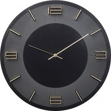 Wall Clock Leonardo Black/Gold Kare Design