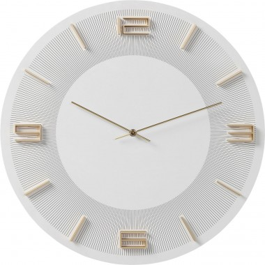 Wall Clock Leonardo White/Gold Kare Design