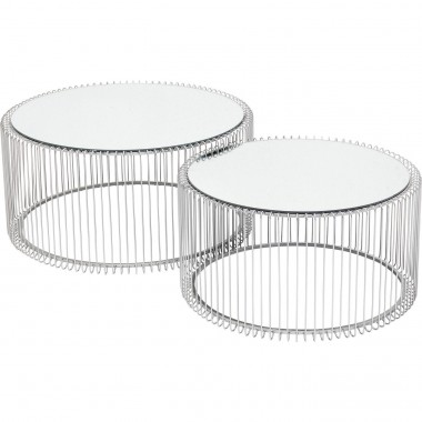 Tables basses rondes Wire argentées set de 2 Kare Design