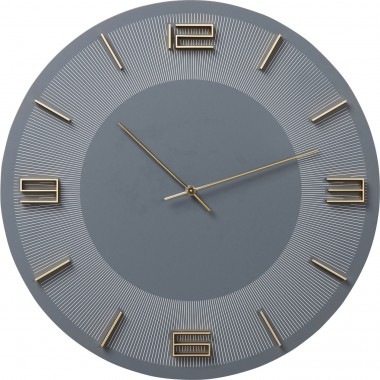 Wall Clock Leonardo Grey/Gold Kare Design