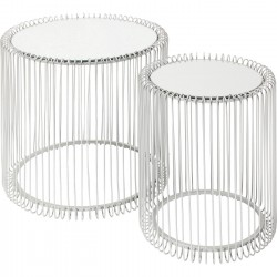 Side Table Wire Silver (2/Set) Ø44cm Kare Design