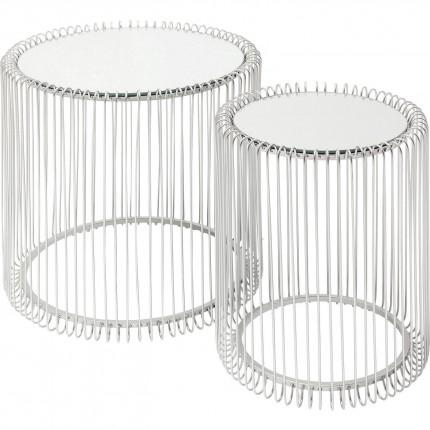 Tables d'appoint Wire argentées set de 2 Kare Design