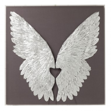 Wall Decoration Wings Silver Grey 120x120cm Kare Design
