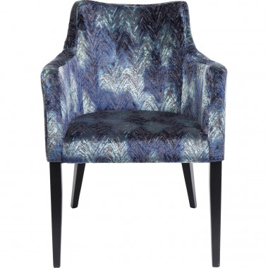 Chair with Armrest Black Mode Fancy Blue Kare Design