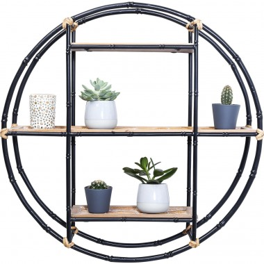 Wall Shelf Jungle Bamboo Black Ø60cm Kare Design