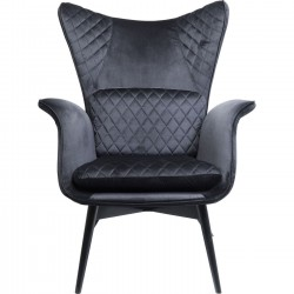 Armchair Tudor Velvet Black Kare Design