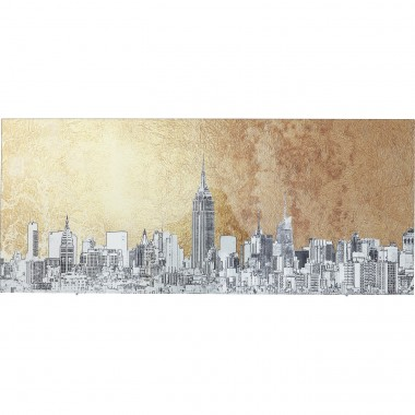 Picture Glass Metallic NY View 50x120cm Kare Design