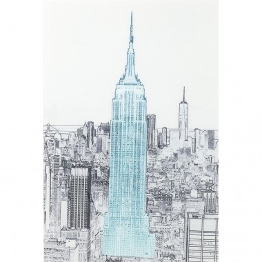 Tableau en verre croquis Empire State Building 120x80cm Kare Design