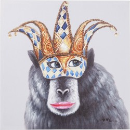 Schilderij aangeraakt apenmasker 70x70cm Kare Design