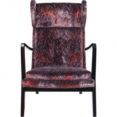 Fauteuil Silence velours chevrons rouges Kare Design