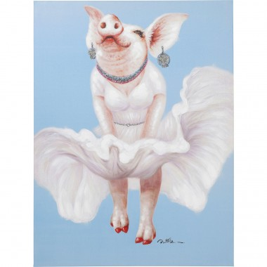 Tableau Touched cochon diva 120x90cm Kare Design
