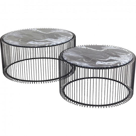 Coffee Table Wire Glass Marble Black (2/Set) Kare Design