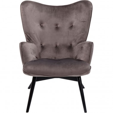 Armchair Black Vicky Velvet Grey Kare Design