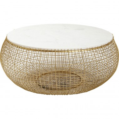 Coffee Table Cesta Marble Gold Ø100cm Kare Design
