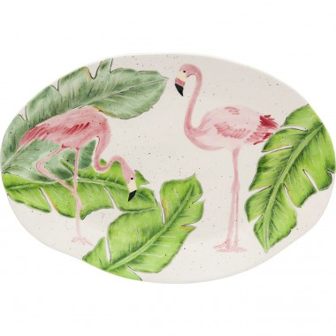 Plat Tropical flamants roses ovale 40cm Kare Design