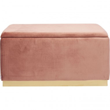 Banc-coffre Cherry rose et laiton 80x40cm Kare Design