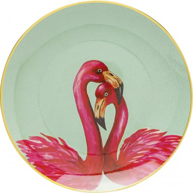 Plat couple flamants roses 27cm Kare Design