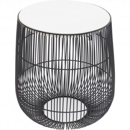 Table d'appoint Beam noire marbre blanc 32cm Kare Design
