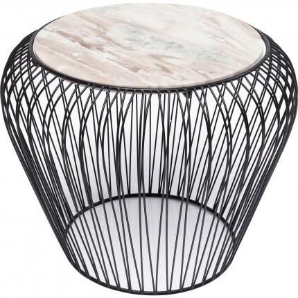 Table d'appoint Beam noire marbre gris 43cm Kare Design