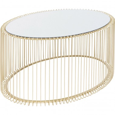 Table basse ovale Wire laiton 60x90cm Kare Design