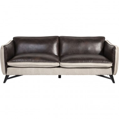 Sofa Fashionista Leather/Canvas 3-Seater Kare Design