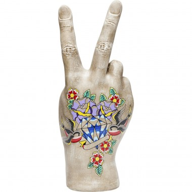 Deco Hand Victory Tattoo Flowers 36cm Kare Design