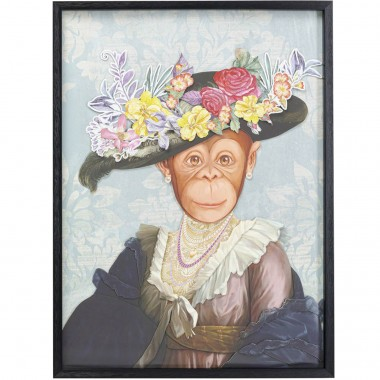 Tableau Frame Art Monkey Lady 80x60cm