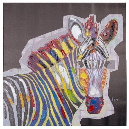 Tableau Touched  Wildlife Zebra 80x80cm