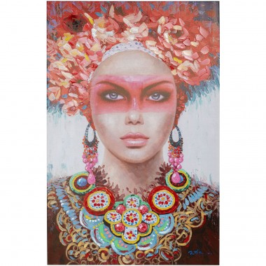 Tableau Touched Red Eye Lady 90x140cm