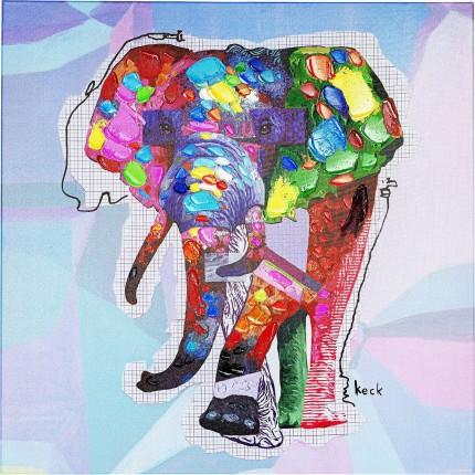 Tableau Touched Wildlife Elephant 80x80cm