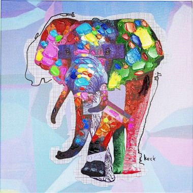 Tableau Touched Wildlife Elephant 80x80cm