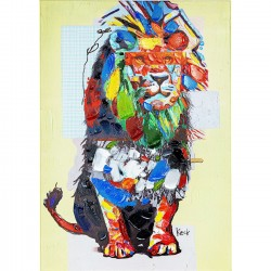 Picture Touched Wildlife Lion 70x100cm Kare Design